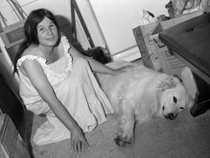 Frances and visiting White Dog, 1981
