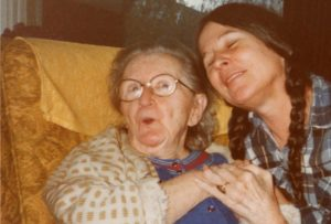 Grace Tompkins with Frances, about 1983