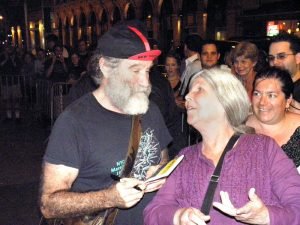 "Robin Williams and Frances in NY after his ""Bengal Tiger at the Baghdad Zoo,"" 2011"