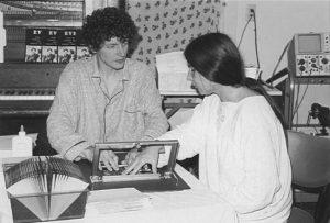 "Tim and Frances making original ""Eve"" books, 1980"