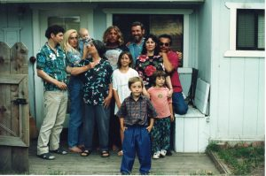Tim and Frances in family group shot, 1992
